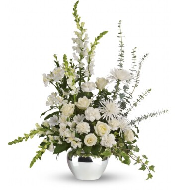 white roses, white alstroemeria, white carnations, white snapdragons