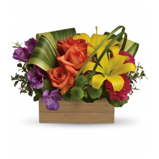 orange roses, yellow asiatic lilies, purple alstroemeria, hot pink carnations