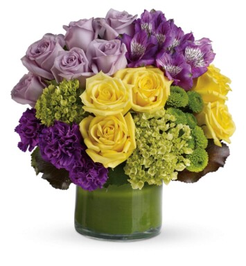 lavender and purple flowers in a vase