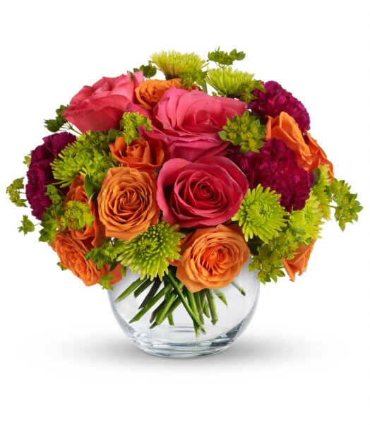 pink roses, orange spray roses in a bowl