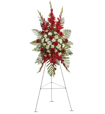 stunning spray of red and white floral
