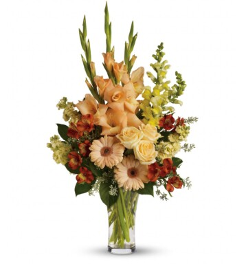 peach gerberas, orange alstroemeria, peach gladioli