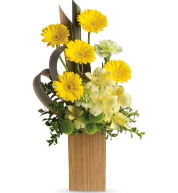 yellow gerberas, yellow alstroemeria, green carnations and green button spray chrysanthemums