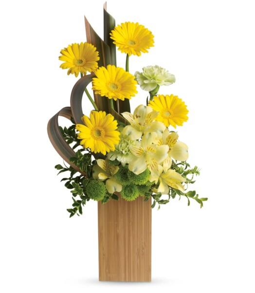 yellow gerberas, yellow alstroemeria, green carnations and green button spray chrysanthemums