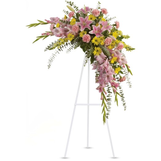 oriental lilies, gladioli and carnations, plus yellow snapdragons