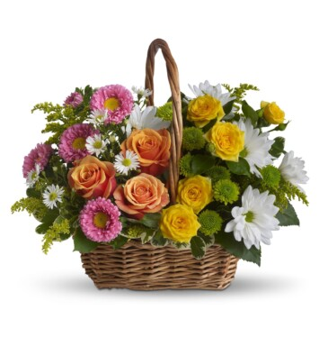 orange and yellow roses, pink matsumoto asters, white daisies, green button mums