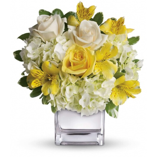 hydrangea, light yellow roses, crème roses and yellow alstroemeria