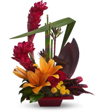 tropical flowers arrangement