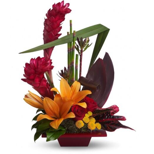 tropical flowers arrangement