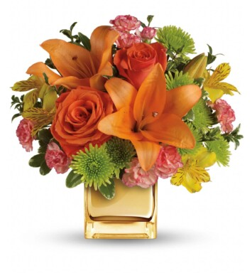 lilies and roses in radiant shades