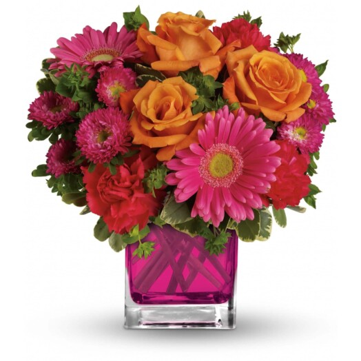 lush orange roses, hot pink gerberas, carnations