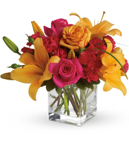 Asiatic Lilies and carnations in vase