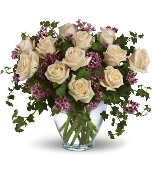 white roses with green and purple