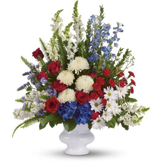 hydrangea, roses, miniature carnations, snapdragons