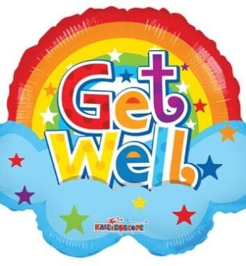 Get well rainbow helium balloon