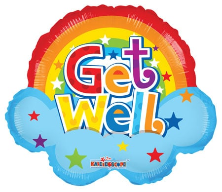 Get well rainbow helium balloon