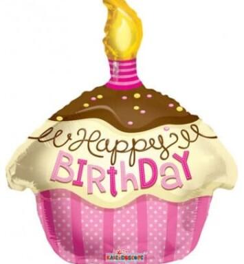 Pink cupcake helium balloon