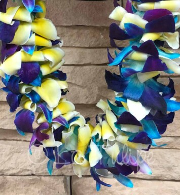 Blue bombay orchid and plumeria hawaiian lei