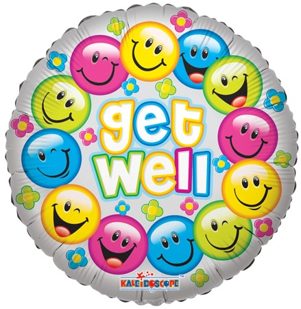 Round smiley face get well balloon