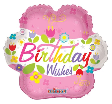 Birthday Wishes Flower Helium Balloon