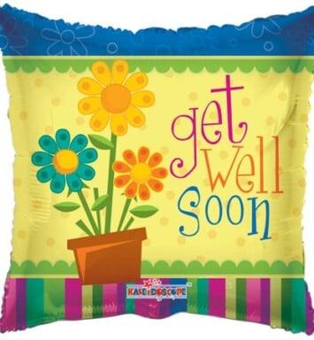 get well soon flower pot helium balloon