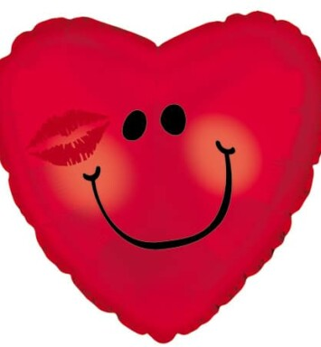 Red smiley face with a kiss helium balloon
