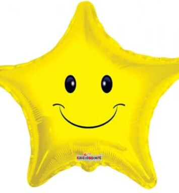 Smiley face star helium balloon
