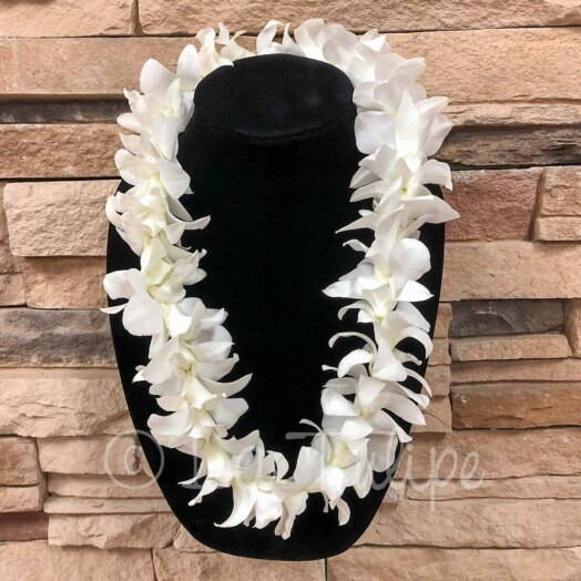 Kids white dendrobium orchid lei for children