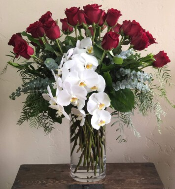Red rose and orchids