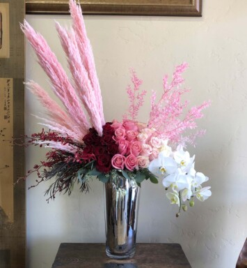 Pink pampas with red pink and white roses